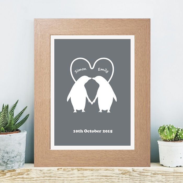 Personalised penguin couple print unusual wedding anniversary or